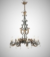 Large French Baroque  Gilt Iron Chandelier