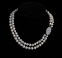 Double Strand of Pearls with Diamond set Platinum Clasp
