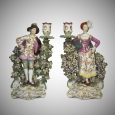 Pair 18th Cent. Derby Ranelagh Dancers Candlesticks