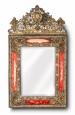 Louis XIV Style Repousse Brass Mirror