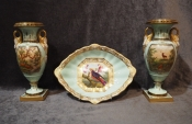 Pair of Fine Early 19th Cent. Grainger Lee & Co. Worcester Vases
