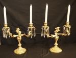 Pair of French Rococo Revival Bronze Candelabra
