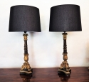 Fine Pair Restauration Patinated and Gilt Lamps